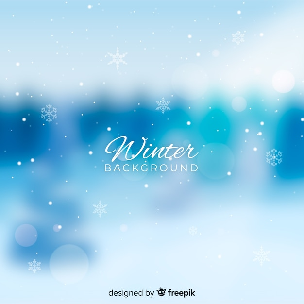 Blurred winter background Free Vector