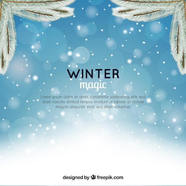 Blurred winter magic background