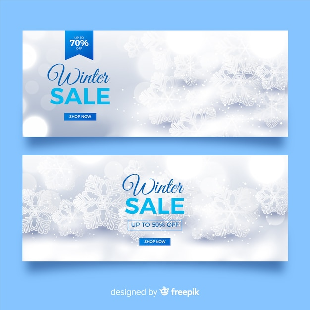 Blurred winter sale banners template Free Vector