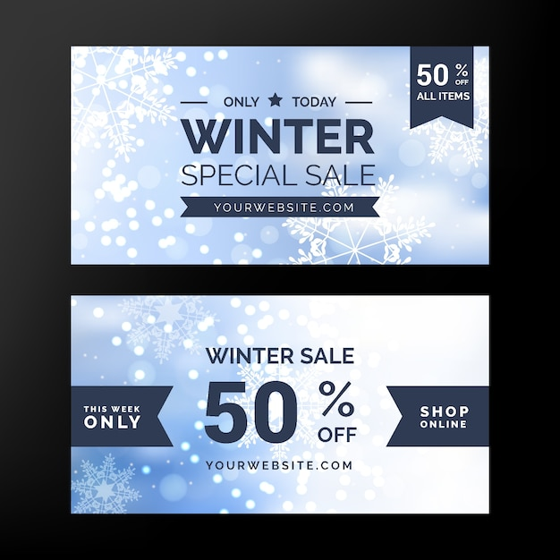 Blurred winter sale banners with ribbon Free Vector