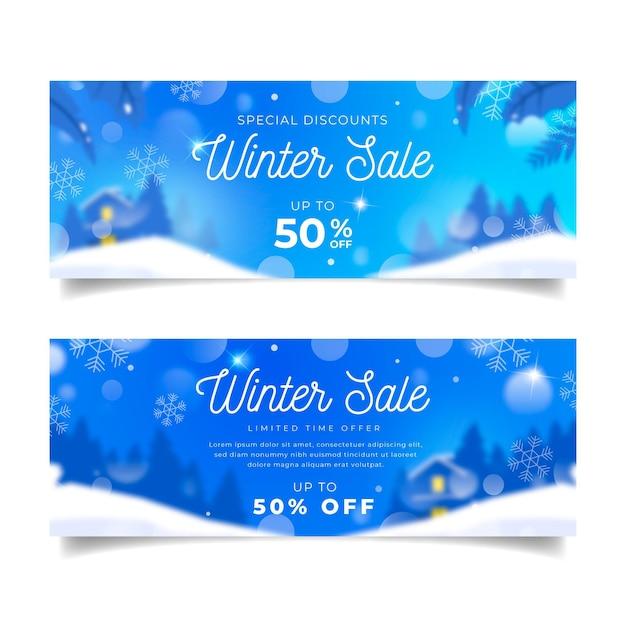 Размытые баннеры зимней распродажи Бесплатные векторы