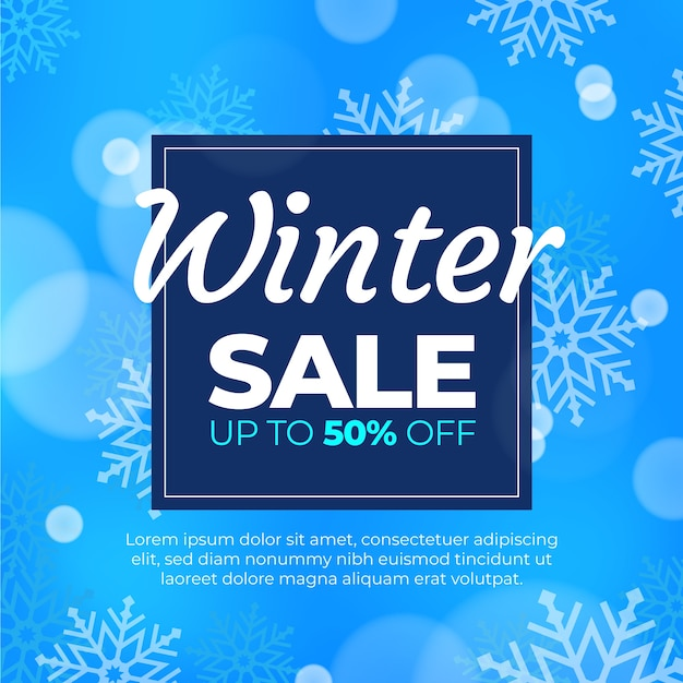 Blurred winter sale with special offer Free Vector