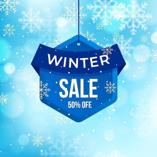 Blurred winter sale Free Vector