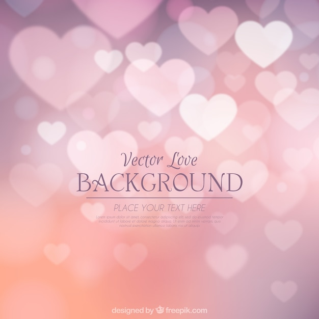 Blurry hearts pink background Free Vector