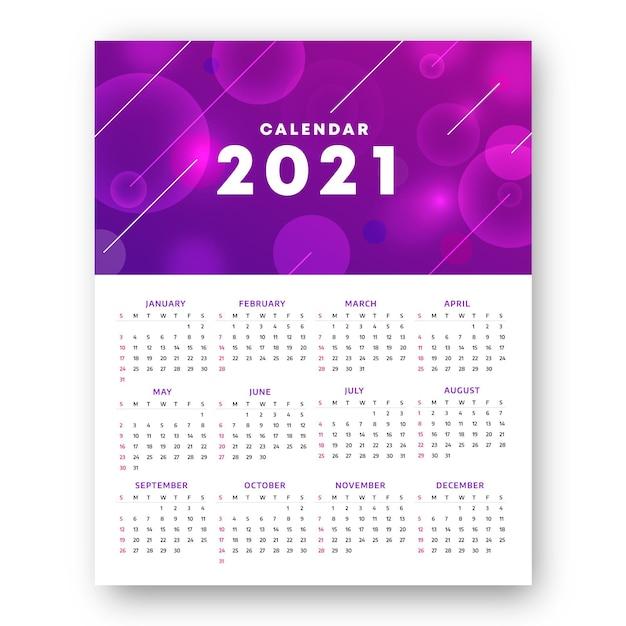 흐릿한 새해 2021 달력 프리미엄 벡터
