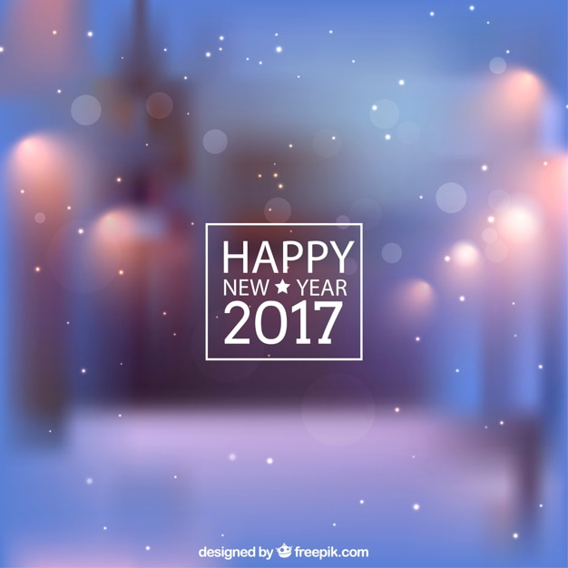 blurry new year background with snowflakes free vector