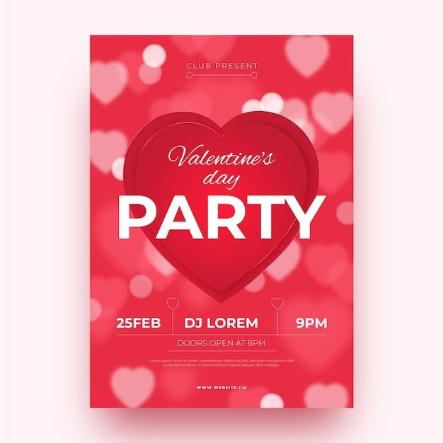 Размытый шаблон плаката вечеринки на день святого валентина Premium векторы