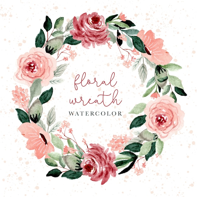 Blush and green floral watercolor wreath Premium Vector