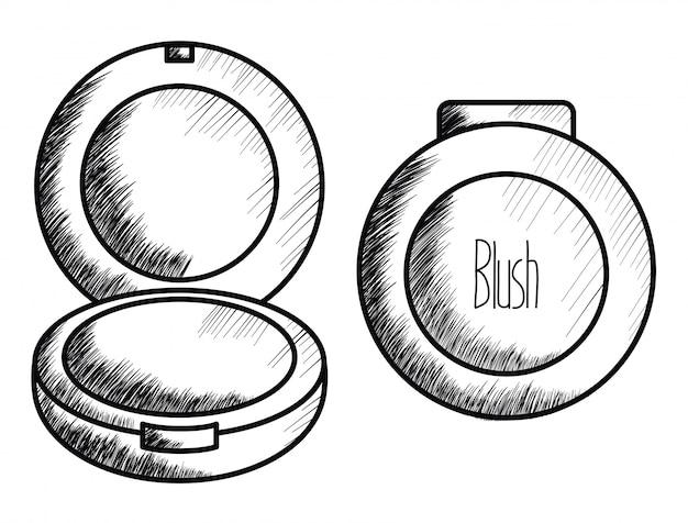 Blush make up drawing icon Free Vector