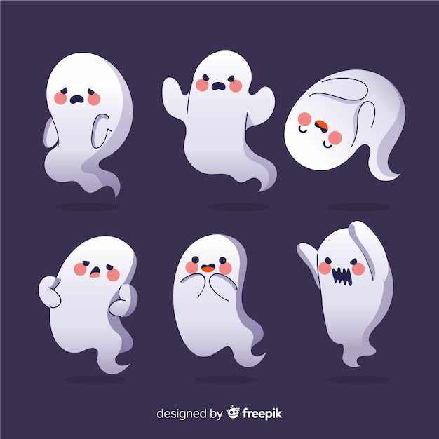 Blushing cartoon ghosts halloween collection Free Vector