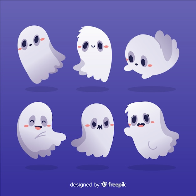 Blushing ghosts hand drawn halloween collection Free Vector