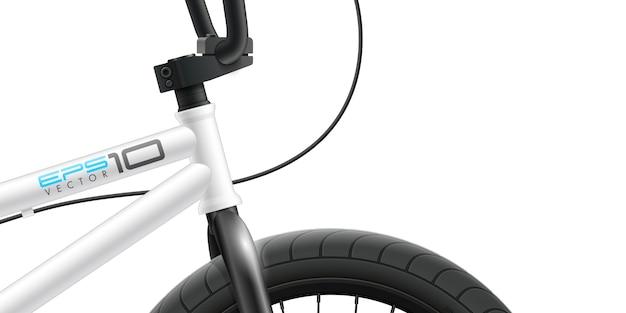 Велосипед bmx - передняя часть крупным планом. Premium векторы