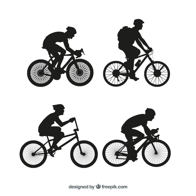 Bmx bicycle silhouettes vector set Free Vector