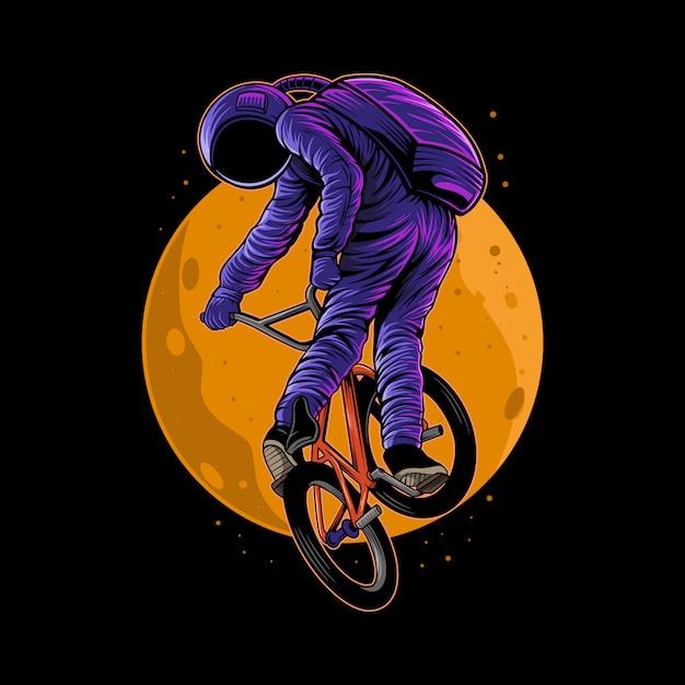 分離された背中に月とbmx自転車イラストに乗って宇宙飛行士 Premiumベクター