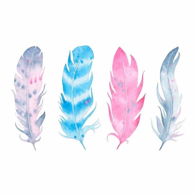 白で隔離水彩手描き自由bo放に生きる羽セット 無料ベクター