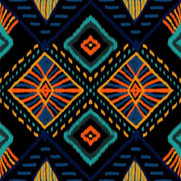 コーラルレトロタイダイ。インディゴカーペットのシームレスパターン。インドネシアのカーペット自由bo放に生きるテクスチャ。クリムゾンジャパンリピートオーナメント。バティックアフリカを繰り返します。 Premiumベクター