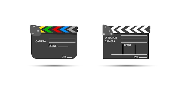 ビデオクリップシーンを開始するためのボードクラップ。ライト、カメラ、アクション!映画制作用のフィルムセットカチンコ。下見板張りのテキスト付きの映画。 Premiumベクター