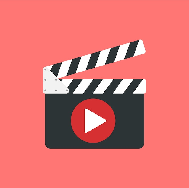 Board clapperboard and play button Premium Vector