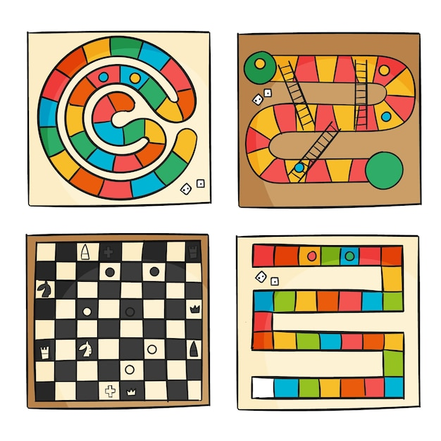 Board game collection concept Free Vector