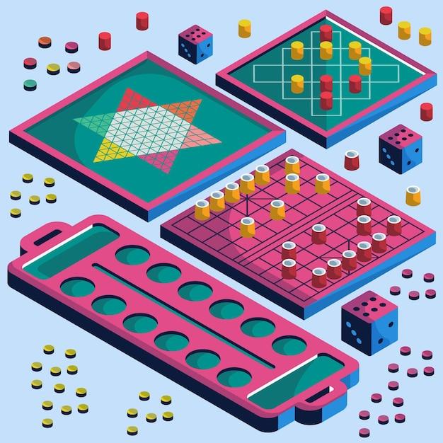 Коллекция настольных игр в изометрическом стиле Бесплатные векторы