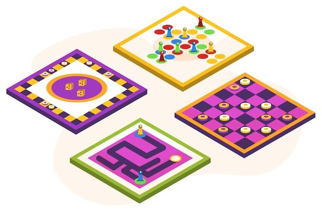 Collezione di giochi da tavolo Vettore gratuito