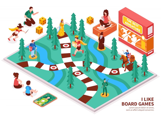 Board game isometric composition Free Vector