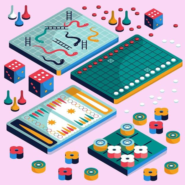 Набор настольных игр изометрический дизайн Бесплатные векторы