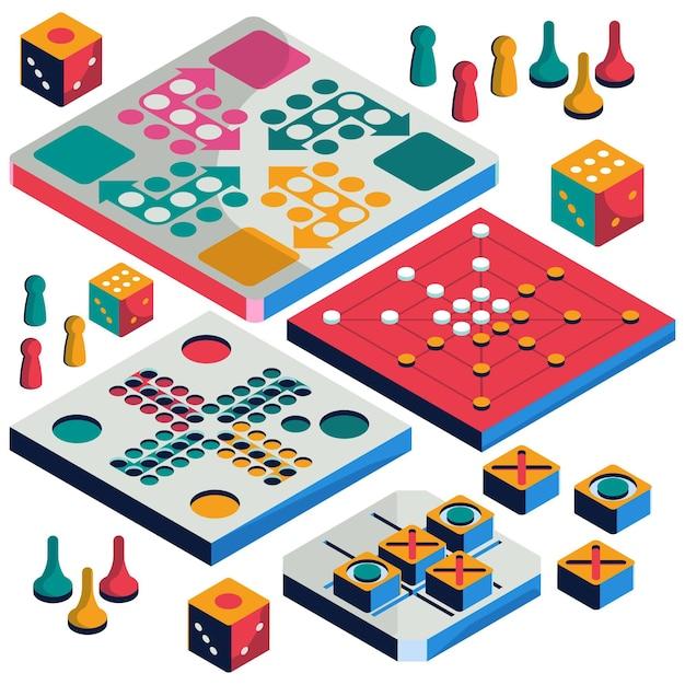 Набор настольных игр изометрический стиль Бесплатные векторы