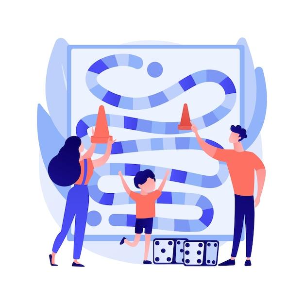 ボードゲームの抽象的な概念のベクトル図。卓上活動、戦略ゲーム、外出禁止令、社会的孤立の自由時間、家族で楽しむ活動のアイデアの抽象的な比喩。 無料ベクター