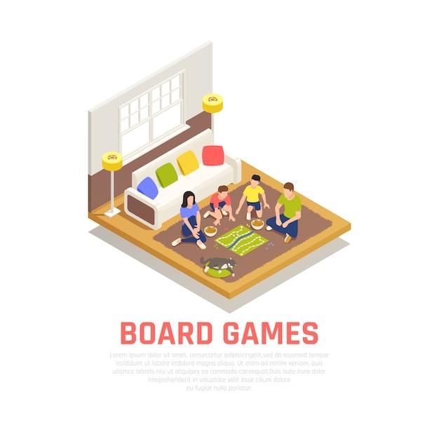 Concetto dei giochi da tavolo con i simboli di sera della famiglia isometrici Vettore gratuito