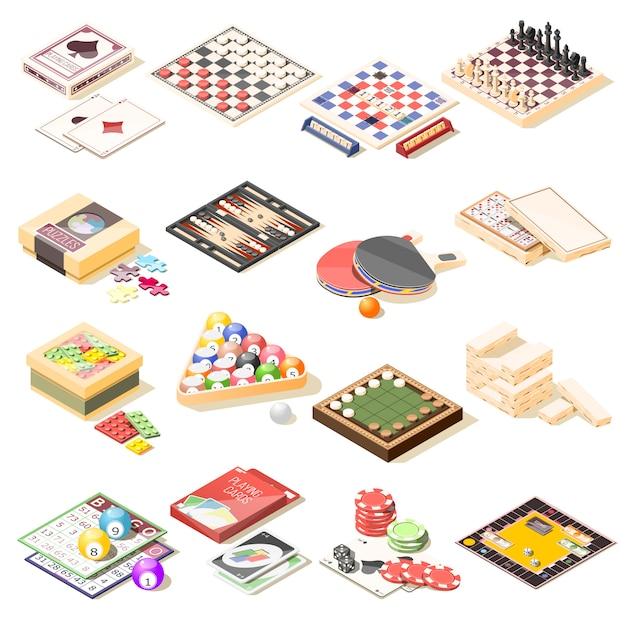 Set di icone isometriche di giochi da tavolo Vettore gratuito