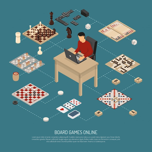 Board games online composition Free Vector