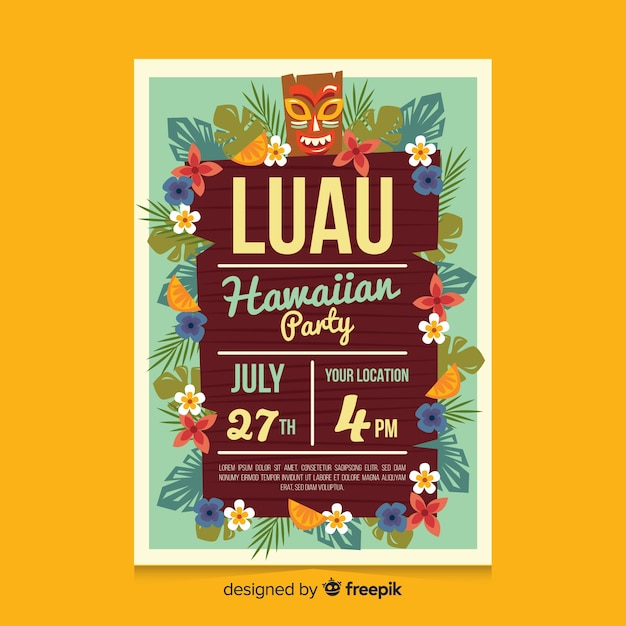 Board Luau Party Poster Template Vector