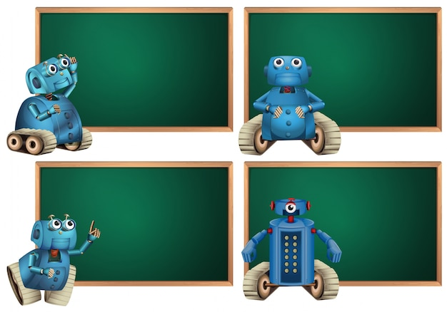 Board template with blue robot Free Vector