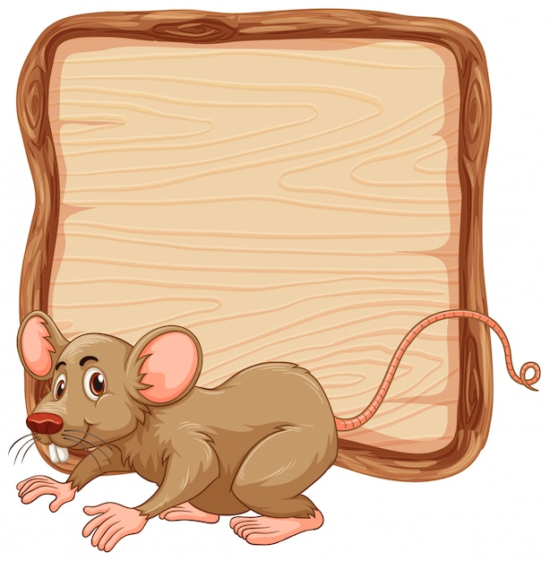Board template with cute brown mouse on white background Free Vector