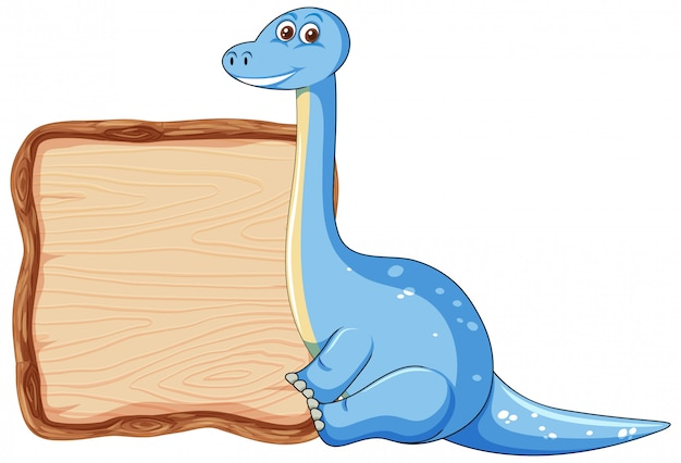Board template with cute dinosaur on white background Free Vector