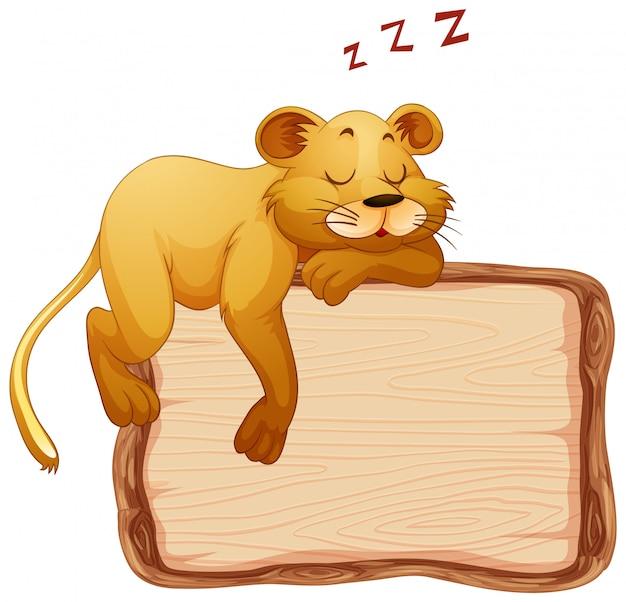 Совет шаблон с милой львицей на белом фоне Бесплатные векторы