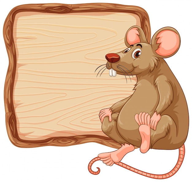 Board template with cute mouse on white background Free Vector