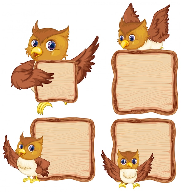 Board template with cute owl on white background Free Vector