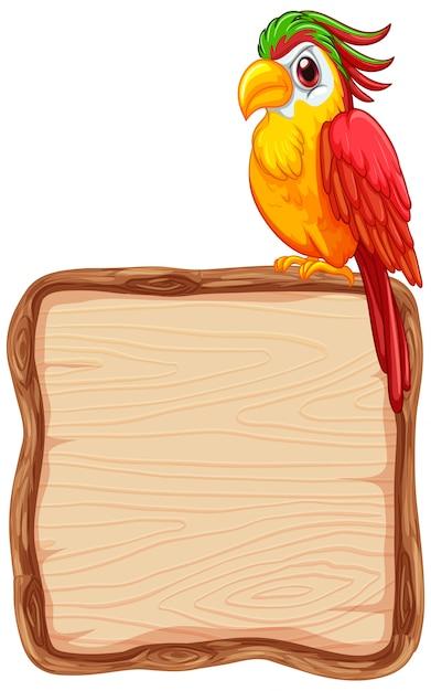 Modello del bordo con il pappagallo sveglio su fondo bianco Vettore gratuito
