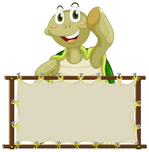 Совет шаблон с милой черепахой на белом фоне Бесплатные векторы