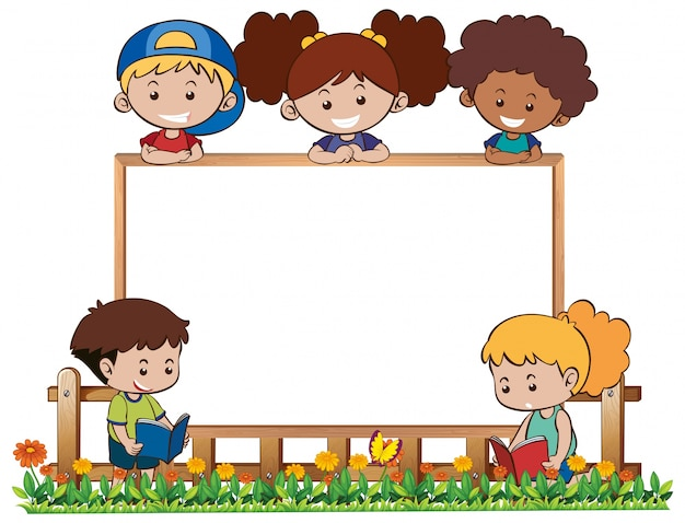 board template with five kids in garden vector free download