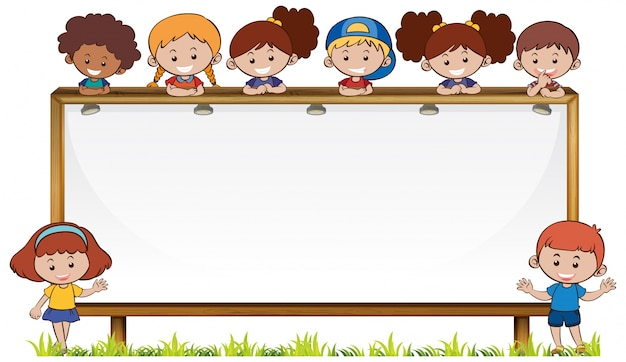 Board template with kids in park Free Vector