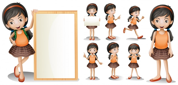 board template with little girl in different actions free vector