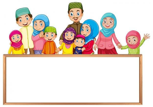 Modello di bordo con famiglia musulmana in abiti colorati Vettore gratuito