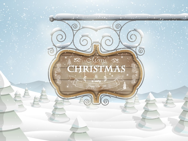 Board with christmas greeting vector illustration. Premium Vector
