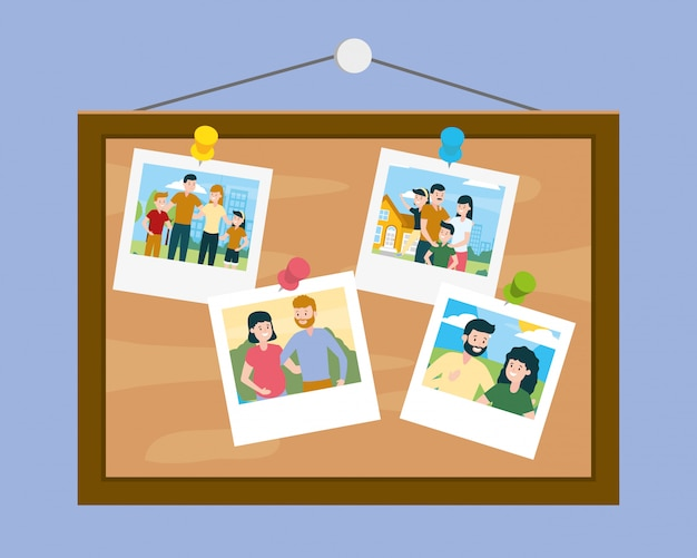 Board with photos in family day Free Vector