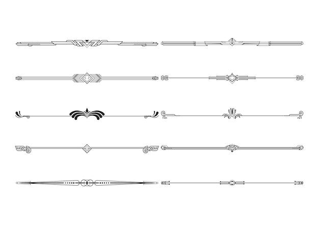 Boarders and dividers decorative set Premium Vector