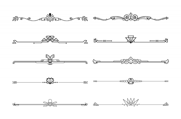 Boarders and dividers decorative set Premium Vector