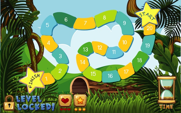 Boardgame template with green forest background Premium Vector